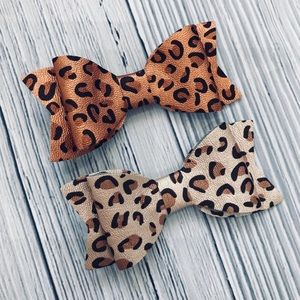 Brand New Set of 2 Baby Bows Faux Leather Leopard